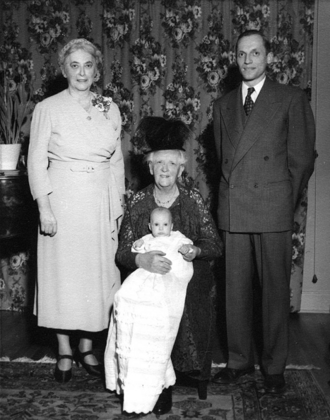 Four generations of LeDain/Wornell family, taken 1950 Top left is Irene Wornell nee LeDain, middle is her mother LeDain with me on her lap, and my father, Lloyd Wornell is standing on the right.