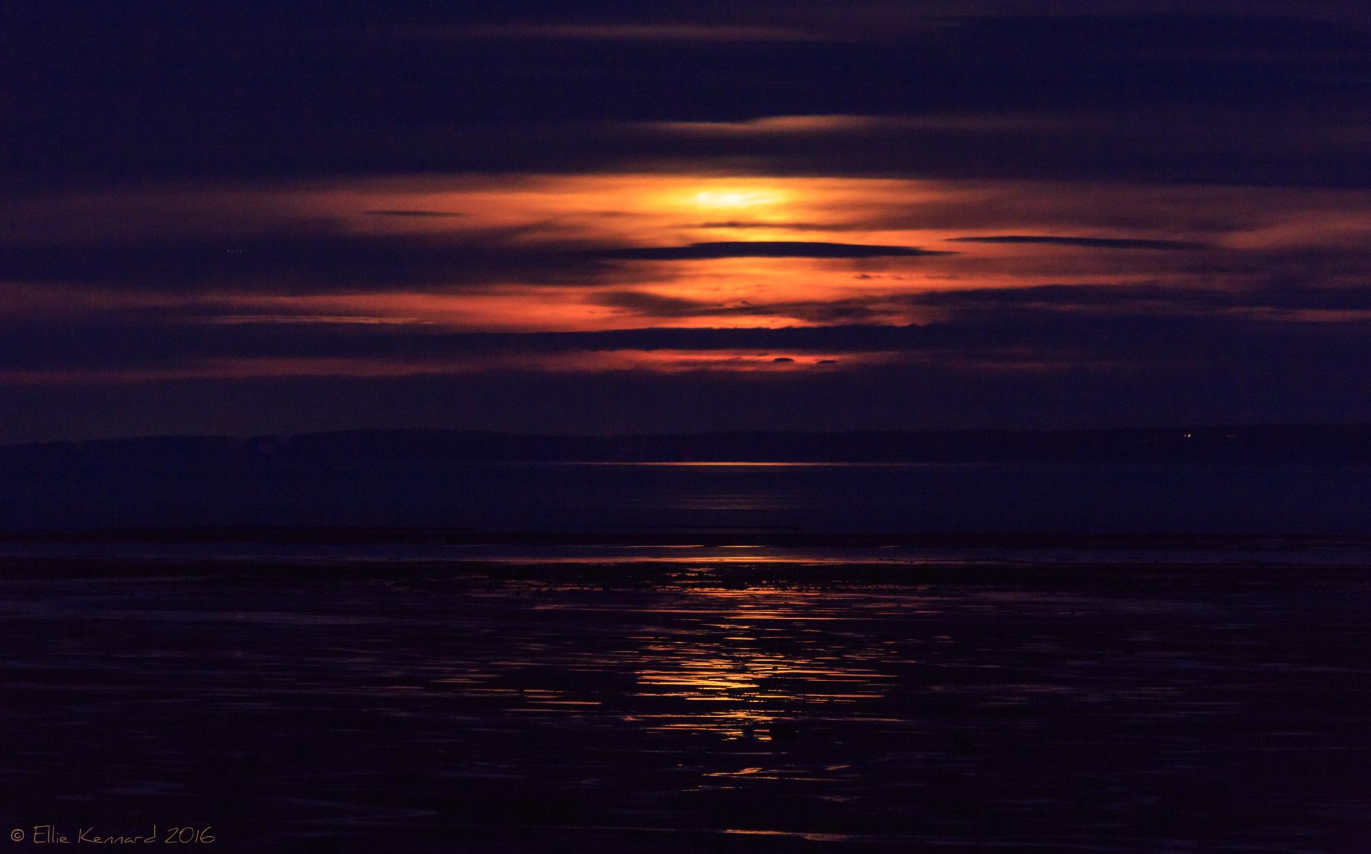 Hunter's Moon Super Moon pursued by a cloud - Ellie Kennard 2016