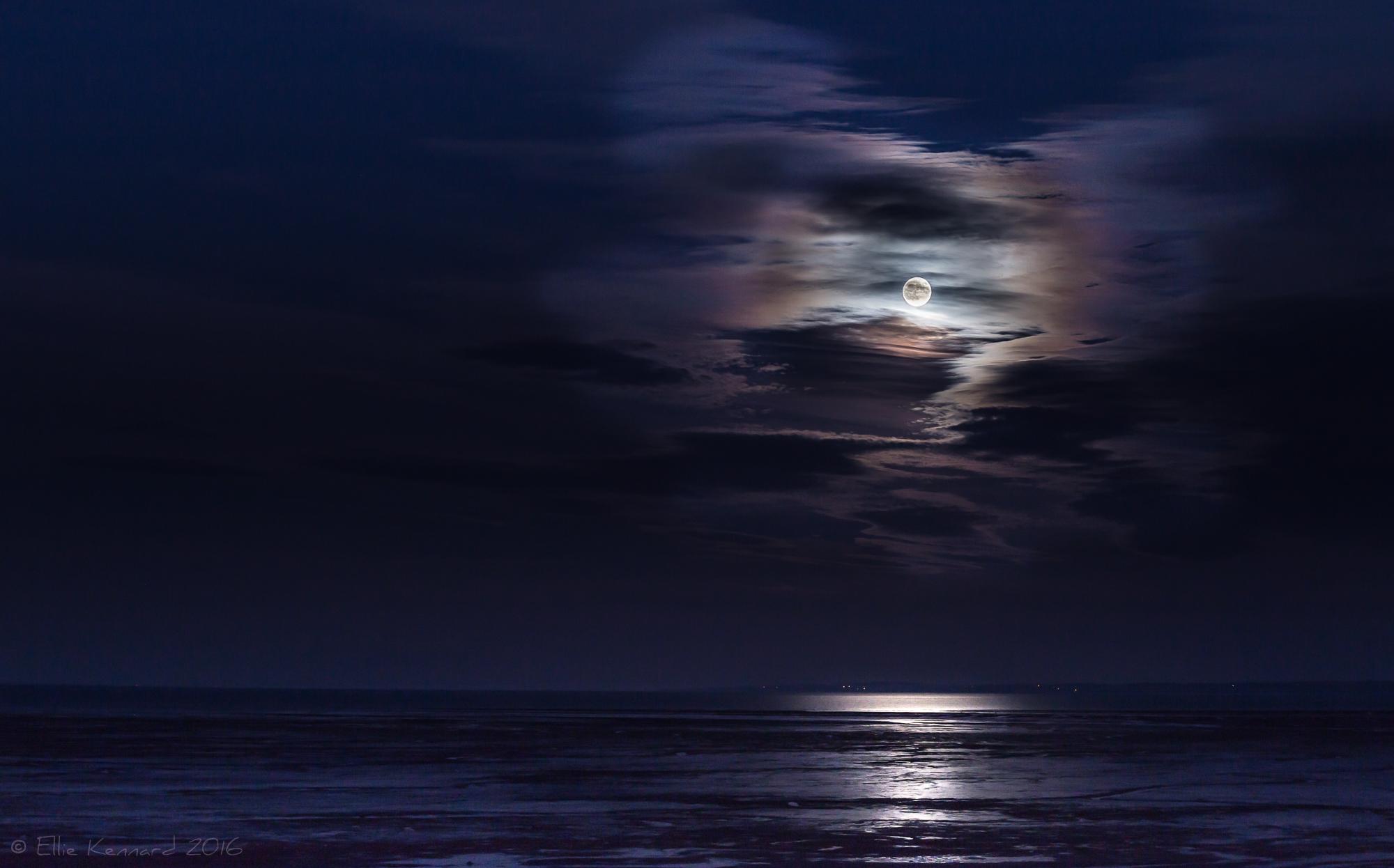 Supermoon with Clouds, Minas Basin, November - Ellie Kennard 2016